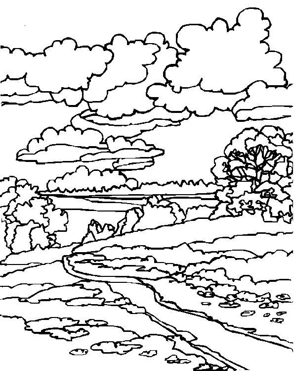 Free coloring and drawings Cloudy sky landscape Coloring page