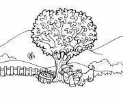Free coloring and drawings Color landscape countryside Coloring page