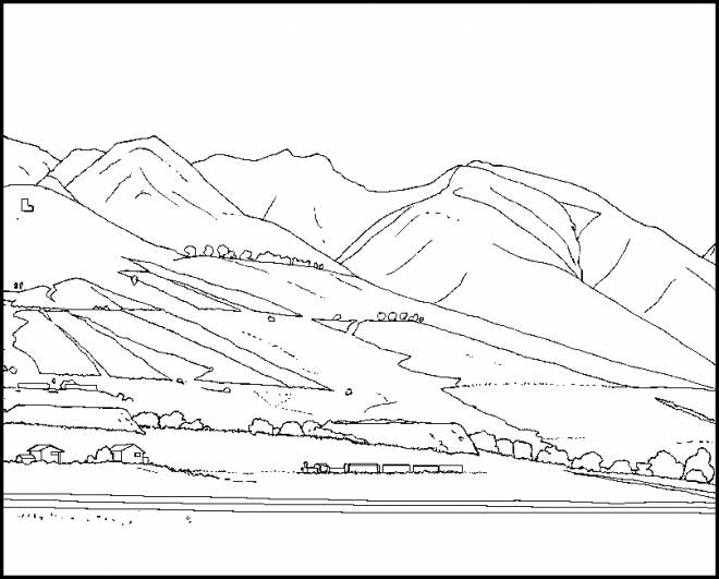 Free coloring and drawings Color Mountain Landscape Coloring page