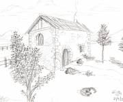 Free coloring and drawings Country house landscape Coloring page