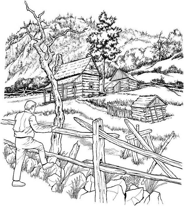 Free coloring and drawings Countryside landscape Coloring page