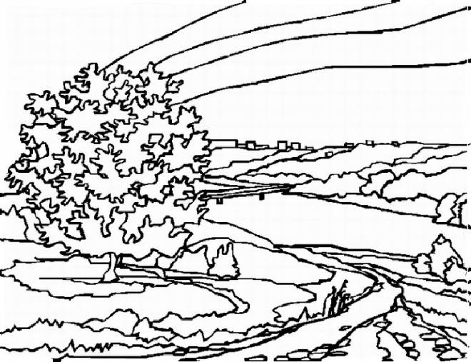 Free coloring and drawings Countryside Landscape in Autumn Coloring page