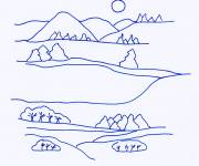 Coloring pages Countryside landscape in blue
