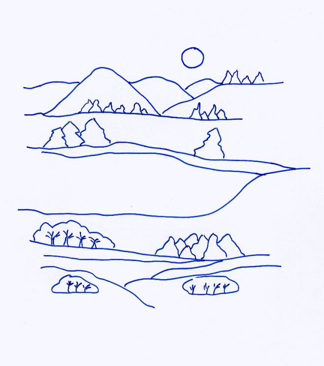 Free coloring and drawings Countryside landscape in blue Coloring page