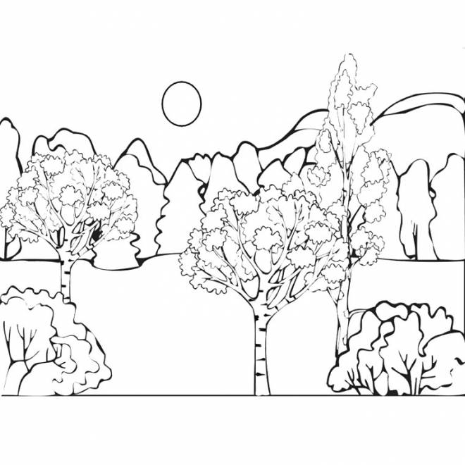 Free coloring and drawings Countryside landscape in color Coloring page