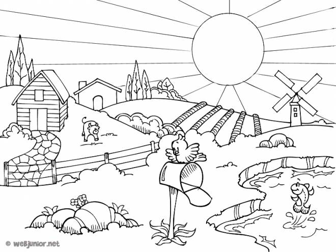 Free coloring and drawings Countryside Landscape in Summer Coloring page
