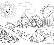 Coloring pages Countryside Landscape with Waterfall