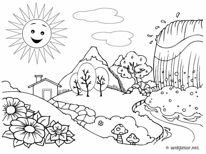 Free coloring and drawings Countryside Landscape with Waterfall Coloring page