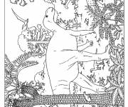 Free coloring and drawings Dinosaur landscape Coloring page