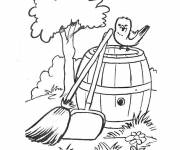 Free coloring and drawings Farm landscape with little bird Coloring page