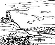 Coloring pages Freehand Countryside Landscape