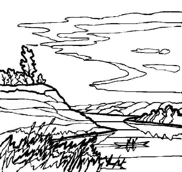 Free coloring and drawings Freehand Countryside Landscape Coloring page
