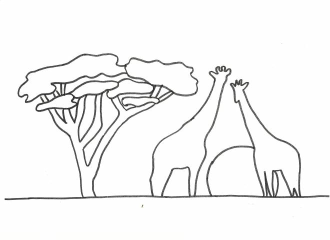 Free coloring and drawings Giraffe landscape Coloring page