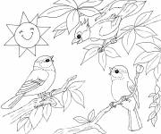 Coloring pages Landscape of Singing Birds