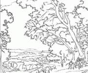 Coloring pages Lively countryside landscape