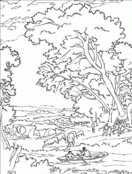Free coloring and drawings Lively countryside landscape Coloring page