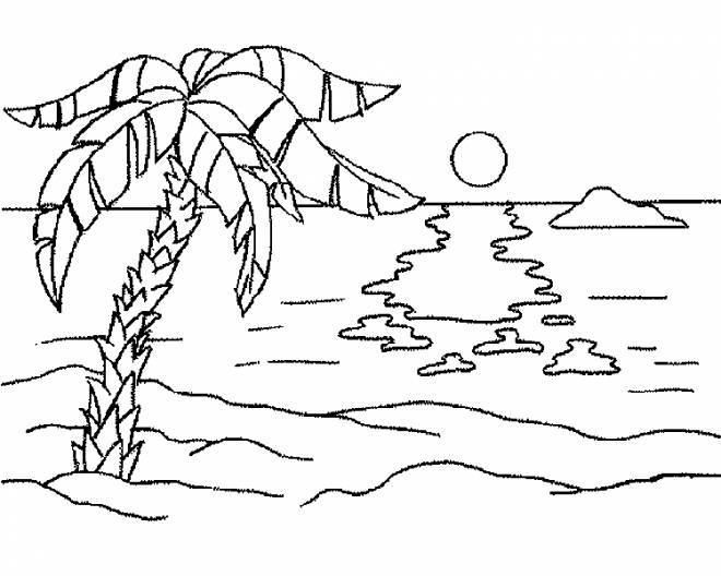 Free coloring and drawings Maternal Beach Landscape Coloring page