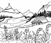 Free coloring and drawings Mountain landscape Coloring page