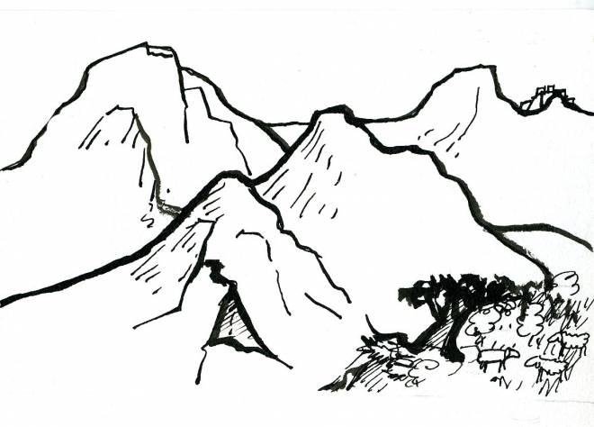 Free coloring and drawings Pencil mountain Coloring page