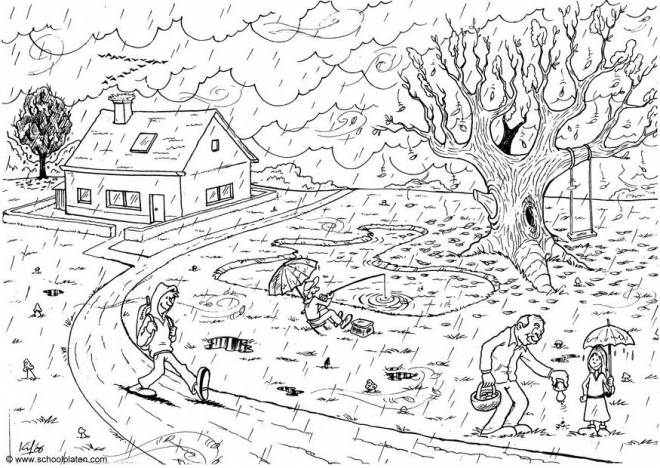 Free coloring and drawings Rain landscape Coloring page