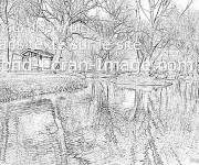 Free coloring and drawings Realistic River Landscape Coloring page