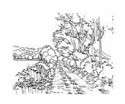 Free coloring and drawings Rural road landscape Coloring page