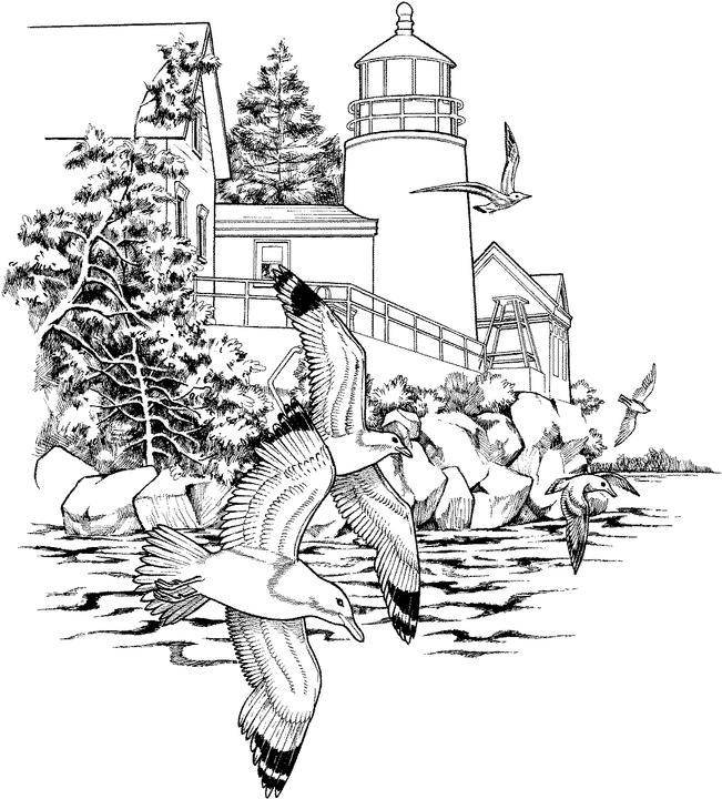 Free coloring and drawings Sea Lighthouse Landscape Coloring page