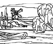 Coloring pages Snow Landscape to complete
