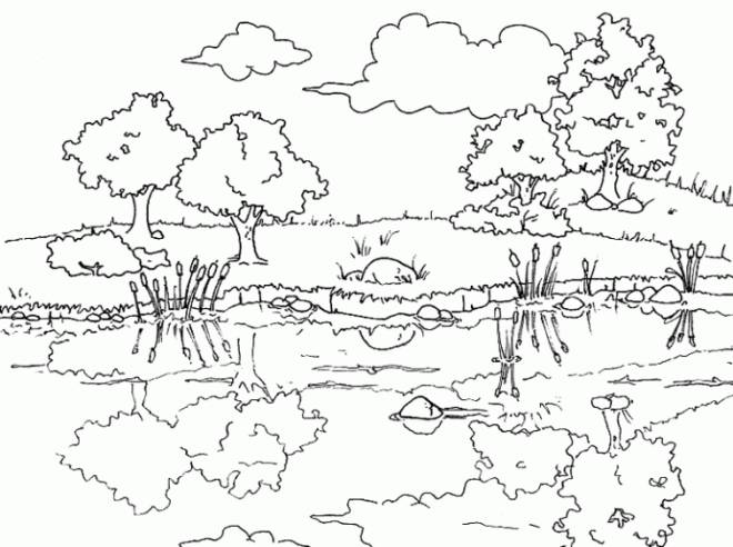 Free coloring and drawings Stylized River Landscape Coloring page