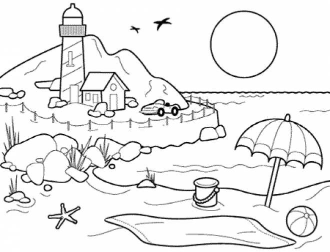 Free coloring and drawings The Beach in summer Coloring page