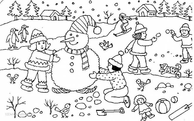 Free coloring and drawings The children playing in the snow Coloring page
