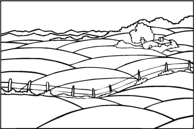 Free coloring and drawings The Field in the Countryside Coloring page