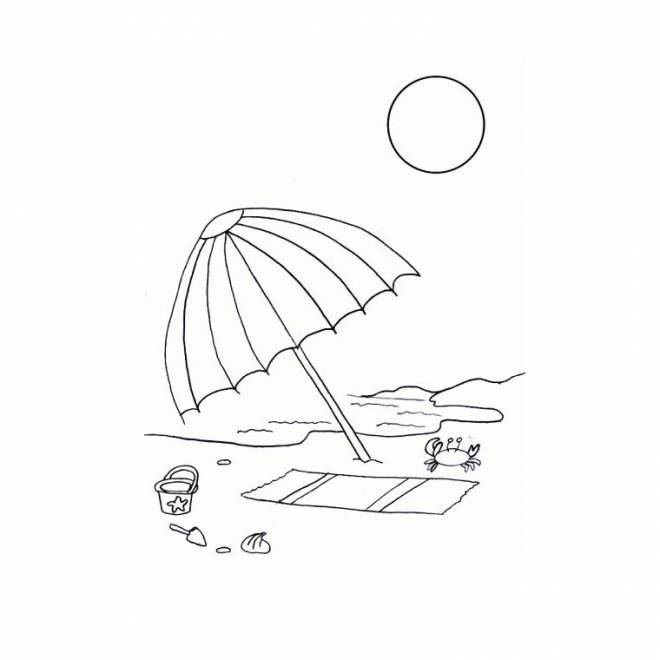 Free coloring and drawings Umbrella on the beach Coloring page