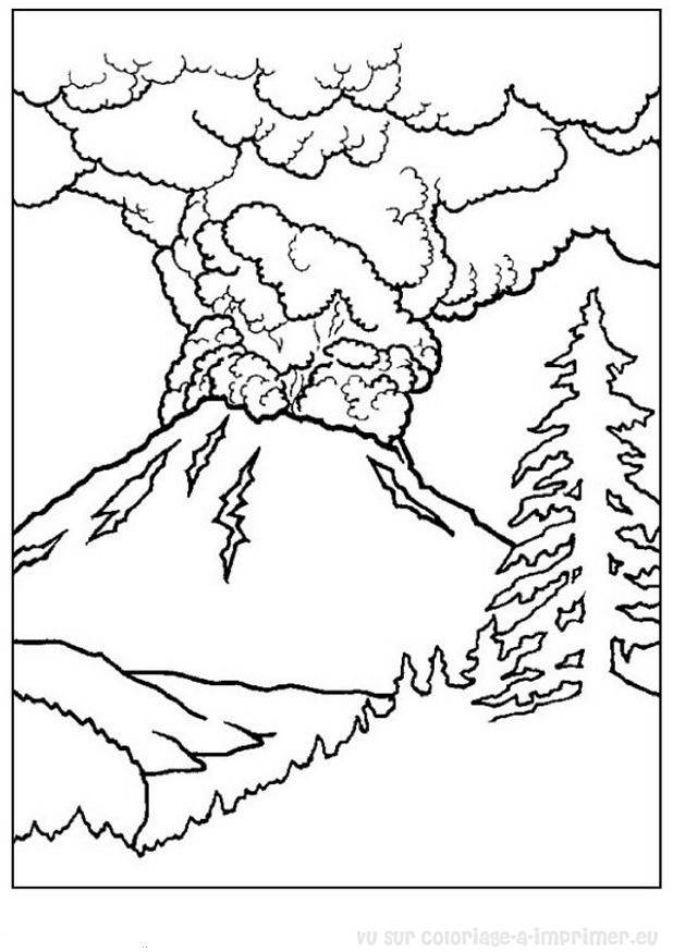 Free coloring and drawings Volcano landscape Coloring page