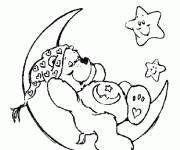 Coloring pages Bear and Moon