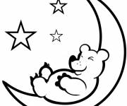 Free coloring and drawings Bear on the Crescent Moon Coloring page