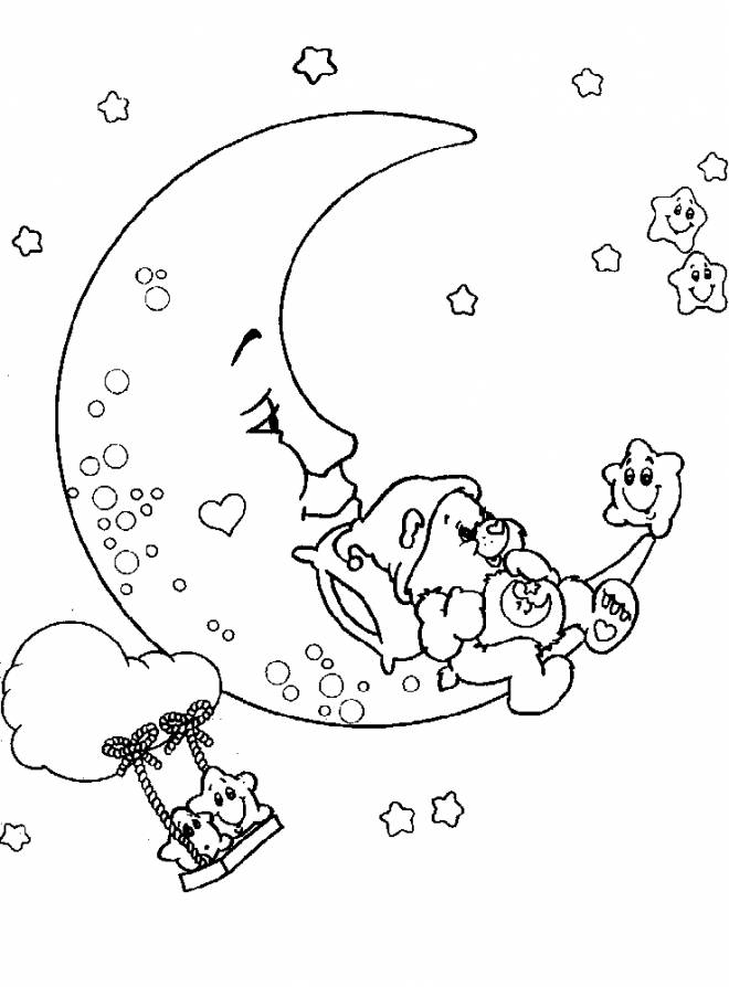 Free coloring and drawings Bears on the moon Coloring page