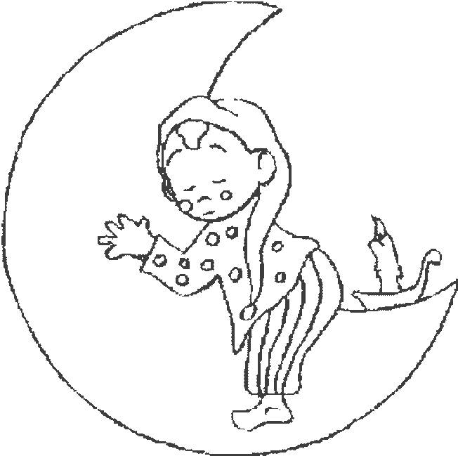 Free coloring and drawings Child sleeps on the moon Coloring page