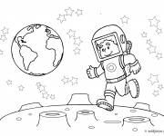 Coloring pages Cosmonaut jumps to the moon