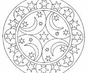 Coloring pages Crescent and Stars mandala