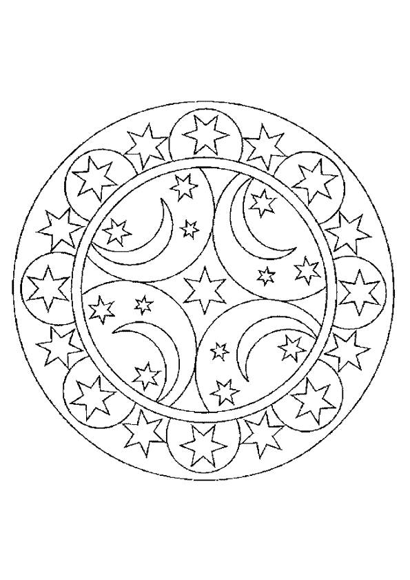 Free coloring and drawings Crescent and Stars mandala Coloring page