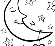 Coloring pages Crescent Moon and Heart