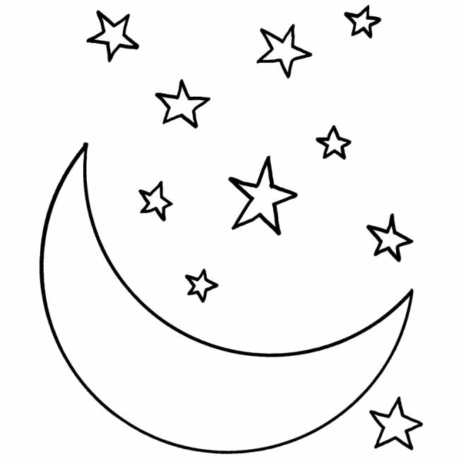 Free coloring and drawings Crescent Moon and Stars Coloring page