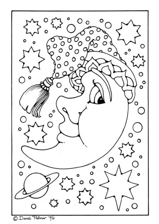Free coloring and drawings crescent wearing a beanie Coloring page