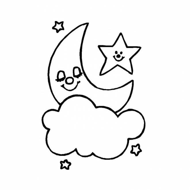 Free coloring and drawings Happy star in heaven Coloring page