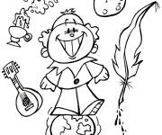 Coloring pages Little Child Moon and Earth