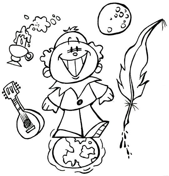 Free coloring and drawings Little Child Moon and Earth Coloring page