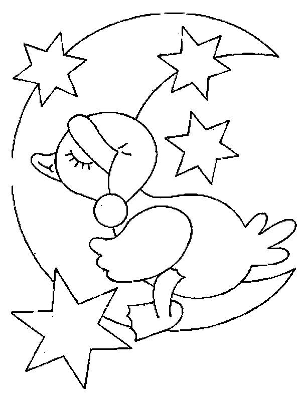 Free coloring and drawings Little Duck sleeps on the Moon Coloring page