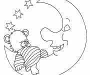 Coloring pages Moon and Bear to decorate