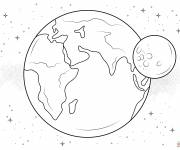 Coloring pages Moon and Earth